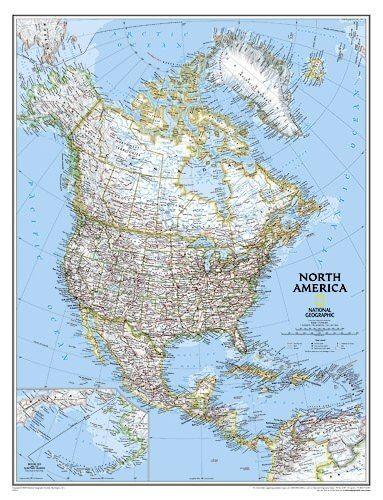 Nordamerika Landkarten Posterpolitisch Standardformat 61 Cm X 76 Cm