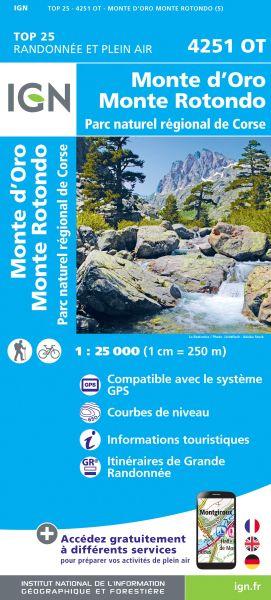 IGN 4251 OT Monte D'Oro - Monte Rotondo, Korsika Wanderkarte 1:25.000