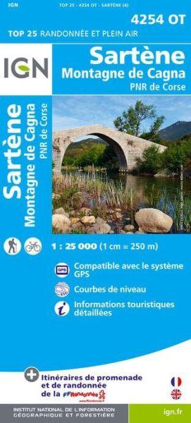 IGN 4254 OT Sartene - Montagen de Cagna, Korsika Wanderkarte 1:25.000