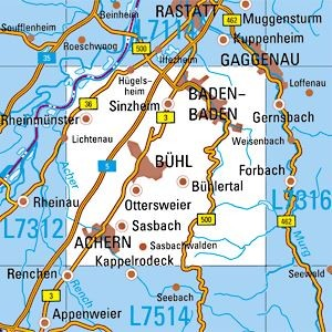 L7314 Baden-Baden topographische Karte 1:50.000 Baden-Württemberg, TK50