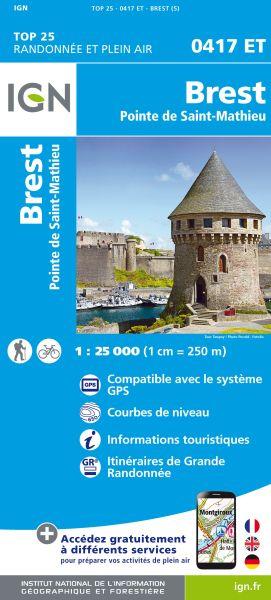 IGN 0417 ET Brest; Pointe de St. Mathieu, Frankreich Wanderkarte 1:25.000