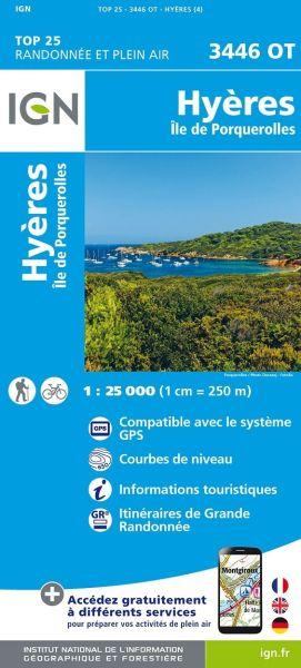 IGN 3446 OT Hyeres, Ile de Porquerolles, Frankreich Wanderkarte 1:25.000