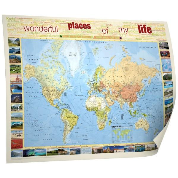 Places of my Life, politische Weltkarte Poster, Kastanea Verlag