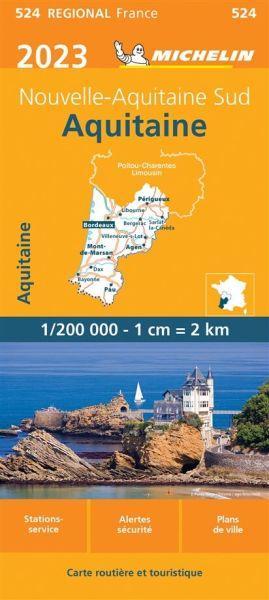 Michelin regional 524 Aquitaine / Aquitanien Straßenkarte 2020 1:200.000
