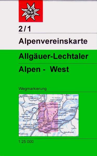 DAV Alpenvereinskarte 2/1 Allgäuer-Lechtaler Alpen West, Wanderkarte 1:25.000
