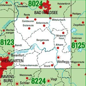 8124 WOLFEGG topographische Karte 1:25.000 Baden-Württemberg, TK25