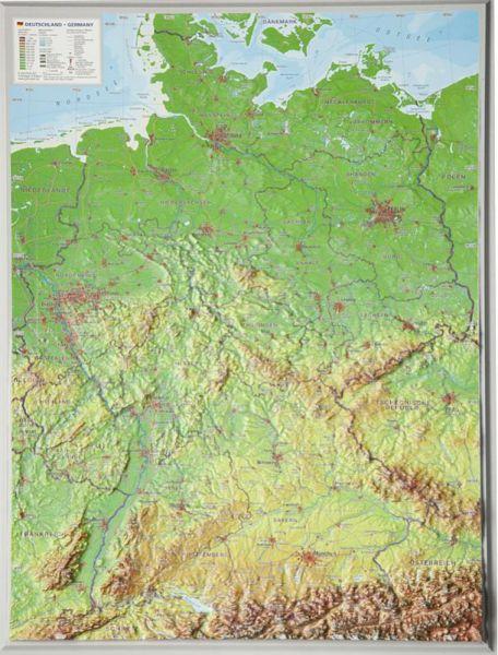 Deutschland Relief klein ohne Rahmen – 39 cm x 29 cm