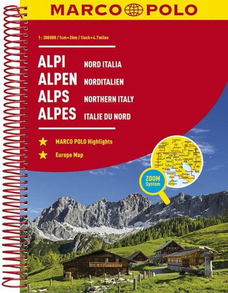 Alpen und Norditalien Straßenatlas, 1:300.000, Marco Polo