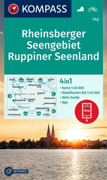 Kompass Karte 743, Rheinsberger Seengebiet 1:50.000, Wandern