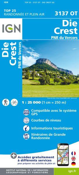 IGN 3137 OT Die, Crest, PNR du Vercors, Frankreich Wanderkarte 1:25.000