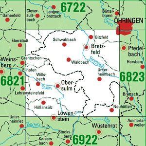 6822 OBERSULM topographische Karte 1:25.000 Baden-Württemberg, TK25