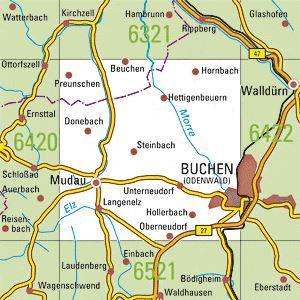 6421 BUCHEN (ODW.) topographische Karte 1:25.000 Baden-Württemberg, TK25