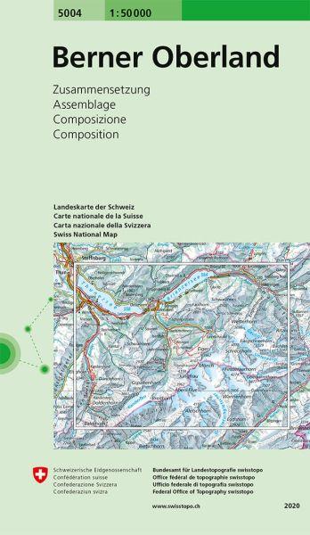 5004 Berner Oberland topographische Wanderkarte Schweiz 1:50.000