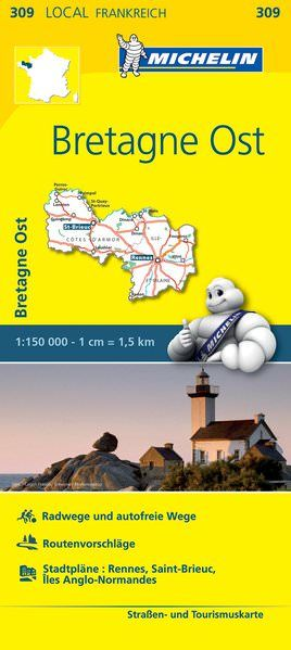 Michelin local 309 Bretagne Ost Straßenkarte 1:150.000