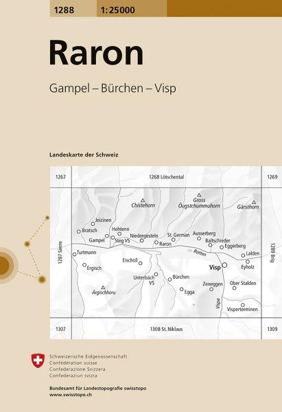 1288 Raron topographische Wanderkarte Schweiz 1:25.000