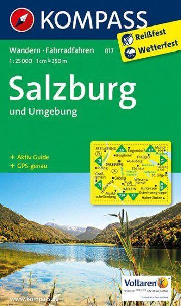 Kompass Karte 017 Salzburg und Umgebung, 1:25.000, Wandern, Rad fahren