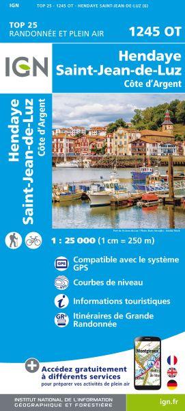 IGN 1245 OT Hendaye / St-Jean-de-Luz / Côte d'Argent , Frankreich Wanderkarte 1:25.000