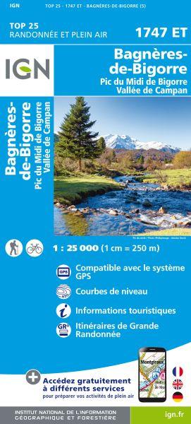 IGN 1747 ET Bagnères-de-Bigorre / Pic du Midi de Bigorre, Frankreich Wanderkarte 1:25.000