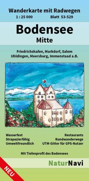 Bodensee Mitte 1:25.000 Wanderkarte mit Radwegen – NaturNavi Bl. 53-529