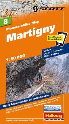 Hallwag Mountainbike Map Bl.8, Martigny, 1:50.000, Wasser- und reißfest