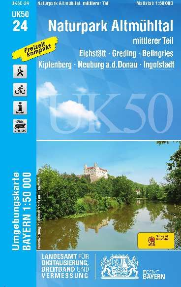 UK50-24 Naturpark Altmühltal Mitte Rad- und Wanderkarte 1:50.000 - Umgebungskarte Bayern