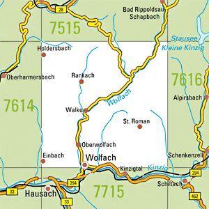 7615 WOLFACH topographische Karte 1:25.000 Baden-Württemberg, TK25