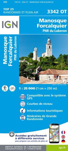 IGN 3342 OT Manosque, Forcalquier, Frankreich Wanderkarte 1:25.000