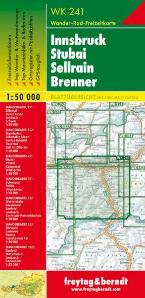 WK 241, Innsbruck, Stubai, Sellrain, Wanderkarte 1:50.000, Freytag und Berndt