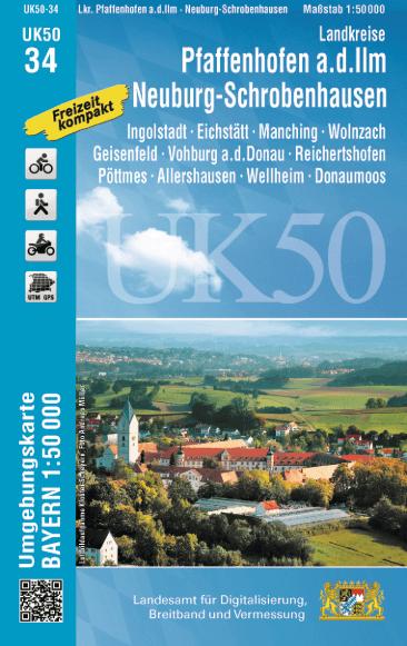UK50-34 Pfaffenhofen - Neuburg - Schrobenhausen Rad- und Wanderkarte 1:50.000 – Umgebungskarte