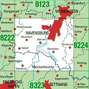 8223 RAVENSBURG topographische Karte 1:25.000 Baden-Württemberg, TK25