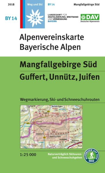 Alpenvereinskarte BY14 Mangfallgebirge Süd Wanderkarte 1:25.000