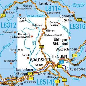 L8314 Waldshut-Tieng topographische Karte 1:50.000 Baden-Württemberg, TK50