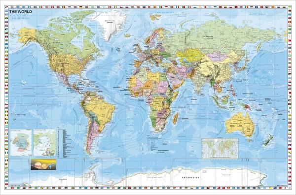 Weltkarte politisch großes Poster auf englisch vomStiefel Verlag 137x89 cm