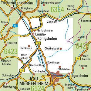 6424 LAUDA-KÖNIGSHOFEN topographische Karte 1:25.000 Baden-Württemberg, TK25
