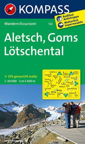 Kompass Karte 122, Aletsch, Goms, Lötschental 1:40.000, Wandern