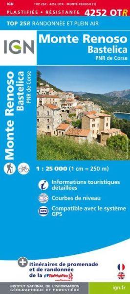 IGN 4252 OTR Monte Renoso / Bastelica / PNR de Corse, wasserfeste Wanderkarte 1:25.000