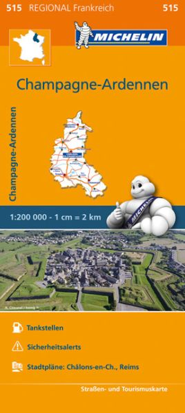 Michelin regional 515 Champagne - Ardennen Straßenkarte 1:200.000