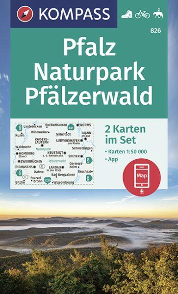Kompass Karte 826, Pfalz Naturpark Pfälzerwald, Kartenset 1:50.000, Wandern, Rad fahren