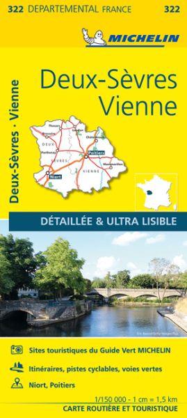 Michelin local 322 Poitou Straßenkarte 1:150.000