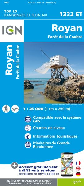 IGN 1332 ET Royan, Foret de la Coubre, Frankreich Wanderkarte 1:25.000