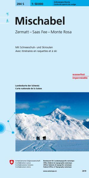 284 S Mischabel, topographische Skitourenkarte 1:50.000