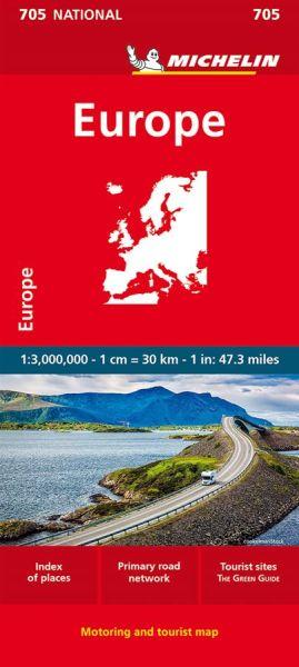 Michelin 705 Europakarte; Europe Bundesfernstraßennetz, Tourismus 1:3 Mio.
