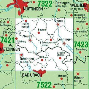 7422 LENNINGEN topographische Karte 1:25.000 Baden-Württemberg, TK25