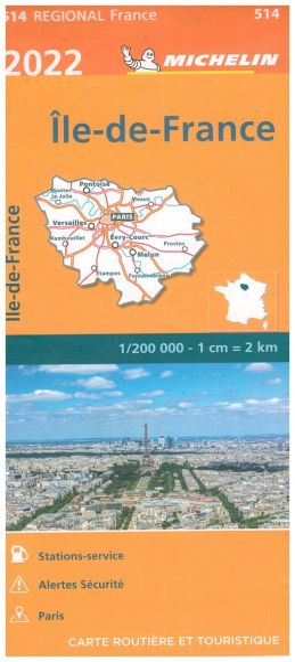 Michelin regional 514 Ile-de-France wetterfeste Karte 1:200.000