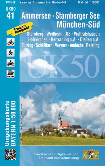 UK50-41 Ammersee - Starnbergersee Rad- und Wanderkarte 1:50.000 - Umgebungskarte Bayern