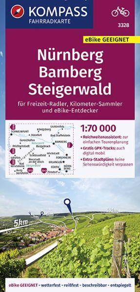 Kompass Fahrradkarte 3328 Nürnberg, Bamberg, Steigerwald 1:70.000