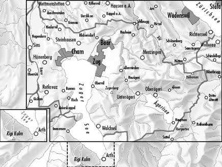 2518 Zugerland topographische Wanderkarte Schweiz 1:25.000