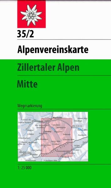 DAV Alpenvereinskarte 35/2 Zillertaler Alpen Mitte, Wanderkarte 1:25.000