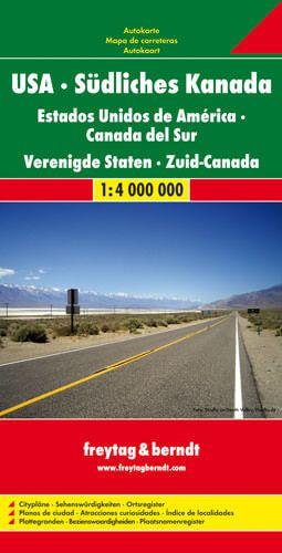 USA, Südliches Kanada, Straßenkarte 1:4.000.000, Freytag und Berndt