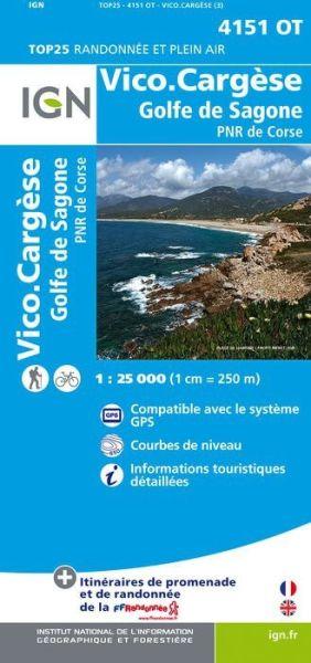 IGN 4151 OT Vico Cargèse - Golfe de Sagone, Korsika Wanderkarte 1:25.000
